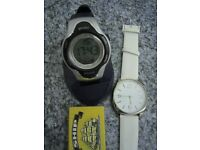 2 WATCHES SPORTS DIGITAL MUTI FUNCTION NEW & BIG FACE M&S WHITE N GOLD ANALOGUE