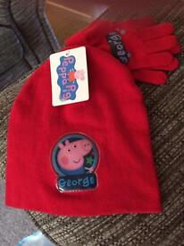 Peppa Pig George hat and gloves set Age 3+
