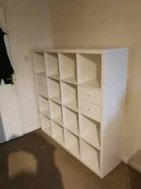 IKEA Kallax shelving unit with inserts
