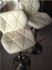 Pair Kitchen Stools / Bar Stools, chairs, leather effect adjustable