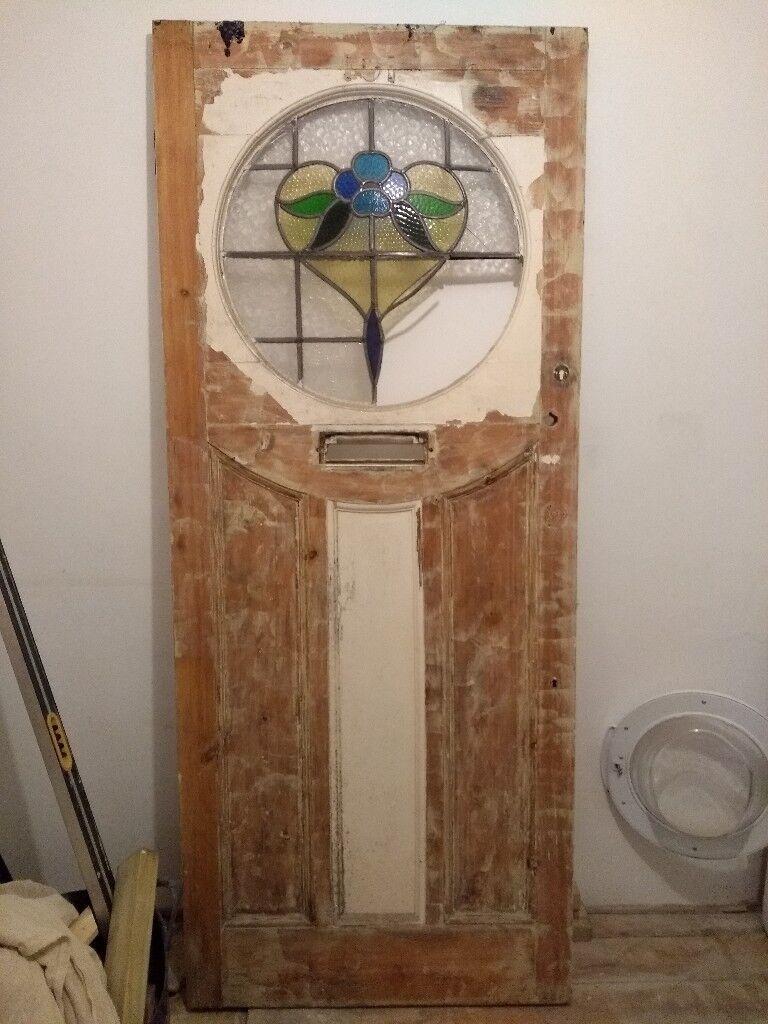 Timber Door Leaded Light In Top Half Needs Repair Or Replacement No