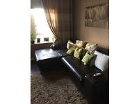 Ikea brown corner sofa and large footstool