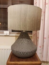 Dark grey crackled effect lamp with grey/silver shade