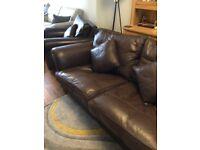 Duresta Quality British Made Brown Leather Three piece suite