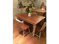 Rustic farmhouse dining table and chairs -Annie Sloan 'country grey'