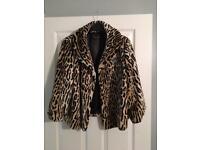 Lady's leopard print faux fir coat