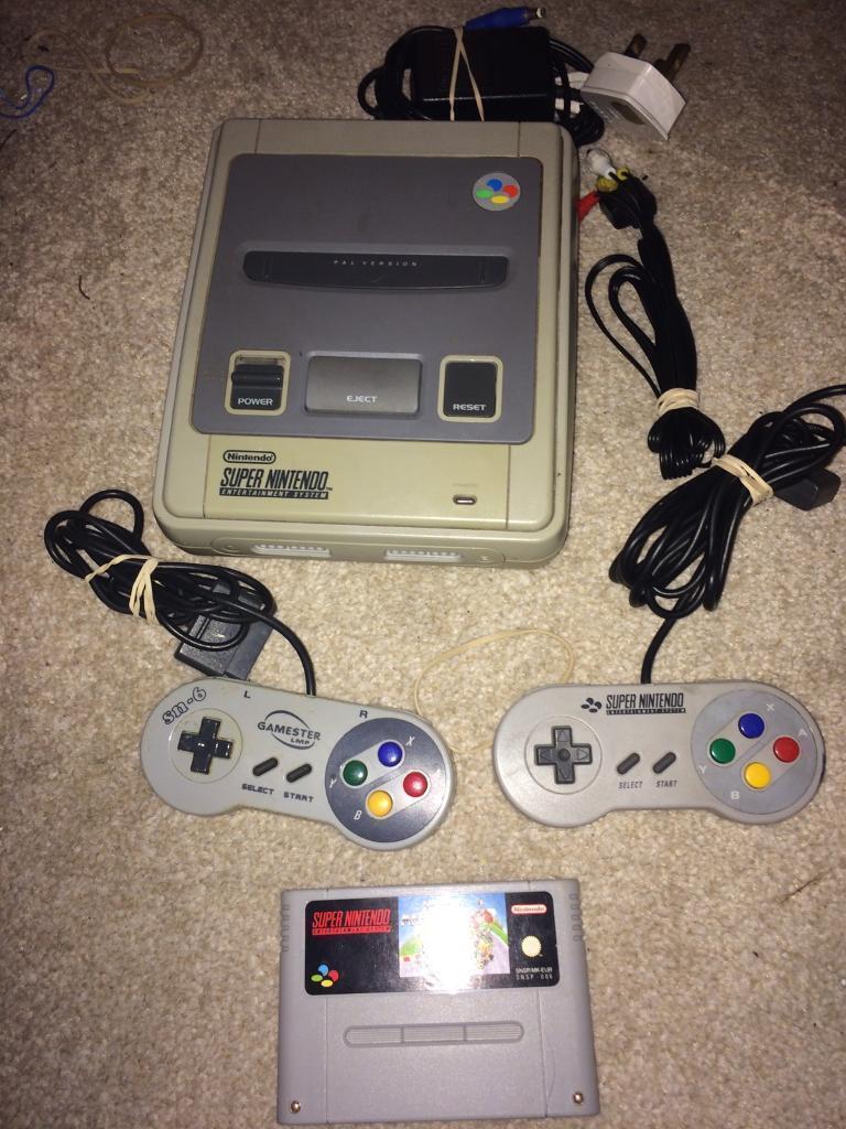 Super Nintendo snes console and mario kart