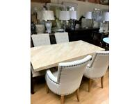 5ft cream marble effect dining table and chairs