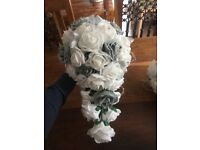 Wedding bouquets white and grey (artificial)