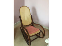 Bentwood style rocking chair . Mahogany frame . Unusual style. Must be seen. Free local delivery