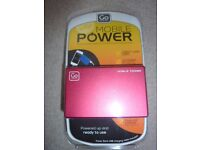 Brand New Go Travel 2300mAh Red Slimline Credit Card Sized External Power Bank