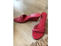 Red leather wedge heel sandals