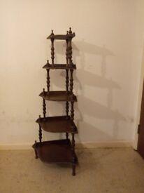 Vintage Mahogany 5 Tier Corner Whatnot / Shelves And A Oak Bookshelf