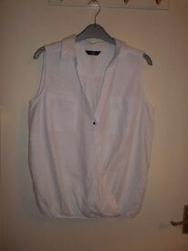White cotton sleeveless blouse. Tesco size 12.