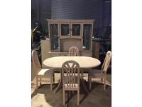 Dining Room table and chairs with matching sideboard display cabinet