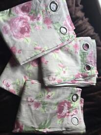 Vintage next 2x curtains and double duvet set bedding and bedsheets pillowcases