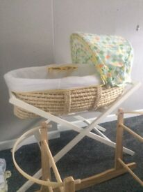 Mothercare bassinet/ organic mattress/ white stand and rocking stand