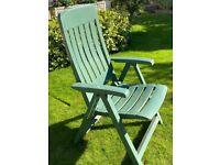 Reclining Garden Chairs x 2 Green