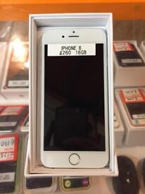 IPhone 6, 16gb, unlocked, silver and white