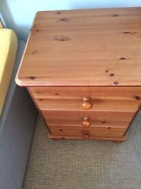 Two bedside three drawer chests