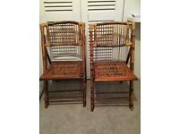 A pair of decorative Bamboo fold up chairs - BATTERSEA COLLECTION