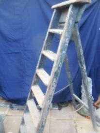 vintage tall wooden folding ladder