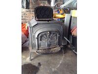 Cast iron stove log burner