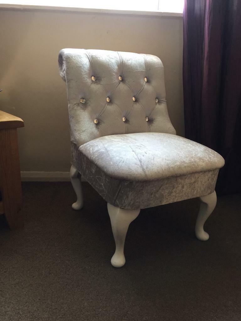 Silver Grey Crushed Velvet Bedroom Chair