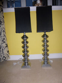Table Lamps x 2. Chrome with black shades. Modern design