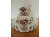 18 piece vintage Alfred Meakin Meadowvale dinner & tea plates,cups & saucers.£38 ovno lot.Will split
