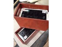 Boat batteries 12v x 2 ( yuasa 644 ) - 96 amp / housed in m/ply carry boxes - not used.