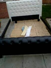 Button faux leather double bed white & black never been used can deliver if required
