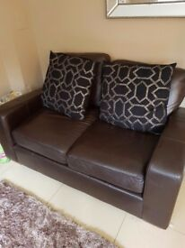 NEXT brown leather sofa 2 seater