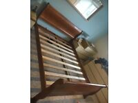 King size wooden sleigh bed frame
