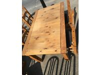 QUALITY HEAVY MEXICAN PINE TABLE AND 4 CHAIRS WITH SET OF SEAT PADS ,