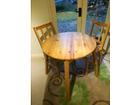 Solid Pine Dining Table & 2 x Chairs