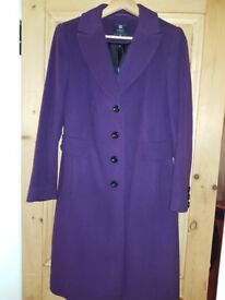 NEW Marks and Spencer purple wool coat size 10