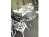 TABLE AND 2 CHAIRS WROUGHT IRON GLASS TOP TABLE WHITE