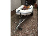 Boat: 2.5m inflatable tender, 6hp 4 stroke engine and trailer