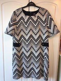 Wallis - black and white dress - new - size 16