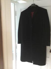 "Men""s Black Overcoat - Wool and Cashmere - Size Medium"
