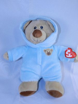 TY Pluffies Blue Pajamas Bear PJ's Non Removable Baby Bear Blue
