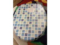 Blue mosiac toilet seat