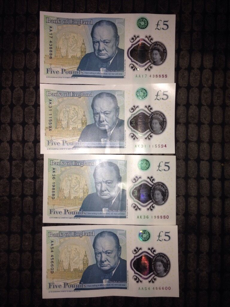 AK17, AK31, AK36, AA54 five pound notes