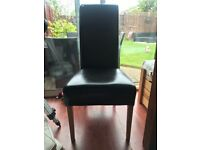 Solid wood dining table and 6 faux leather chairs