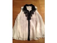 River Island cream with black detail top, size 8