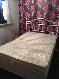 Double bed, comes with base, mattress and headboard