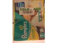 Pampers size 1 nappies unopened box