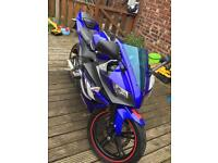 YAMAHA YZF R 125 2009 BLUE CUSTOM EXHAUST
