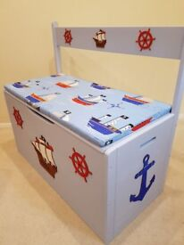 TOYBOX, A BRAND NEW LARGE WOODEN PIRATE TOYBOX/SEAT